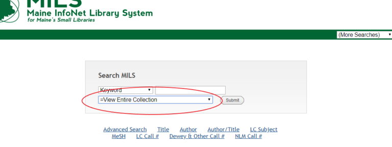 MILS Online Catalog Initial Keyword Search, Entire Collection