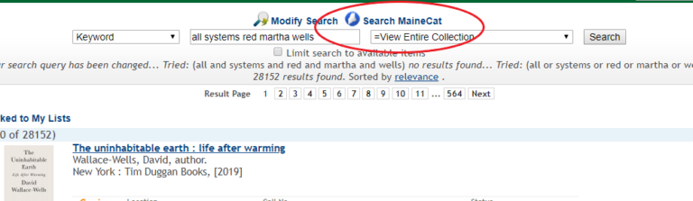 No Results in MILS, Search MaineCat button circled