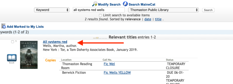MILS Online Catalog Keyword Search Results