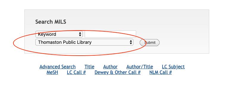 MILS Catalog Keyword Search of Thomaston Public Library Collection