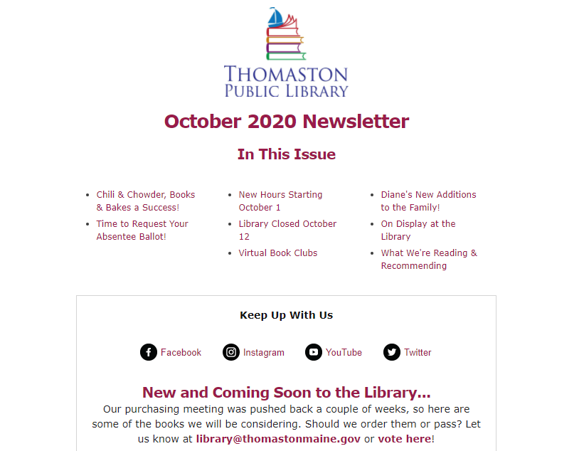 Screenshot of October 2020 Newsletter Table of Contents