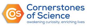 """Cornerstones of Science Logo, slogan """"awakening curiosity, enriching lives"""""""