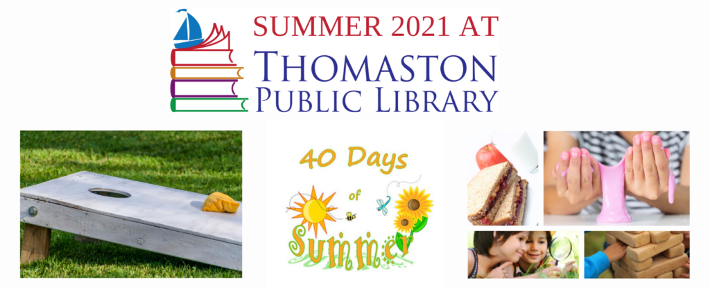 40 Days of Summer 2021 Banner Image featuring bean bag toss game, sandwich lunch, kid playing with slime, kids investigating in grass with a magnifying glass, and kid playing giant Jenga